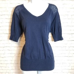NAUTICA linen navy blue v-neck sweater top